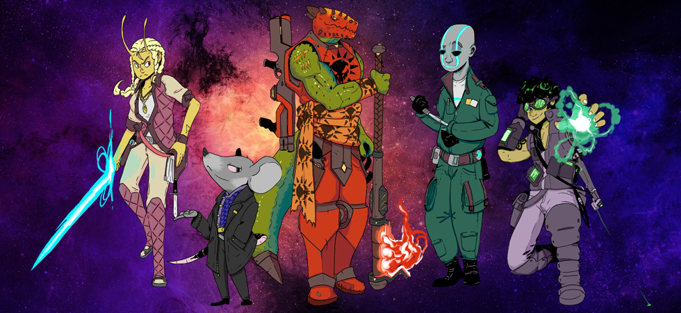 Starfinder Group of Characters: Vesk Soldier, Lashunta Solarian, Android Mechanic, Human Technomancer, Ysoki Envoy